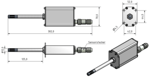Technical Drawing LF-TD 90 humidity and temperature sensing device for industrial applications
